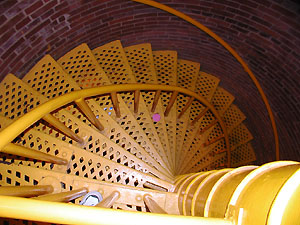 Looking down the spiral staircase